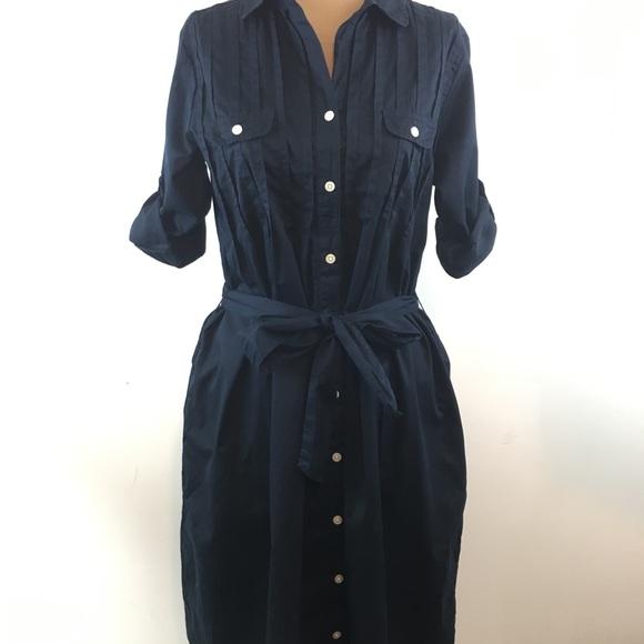 eca929218696 GAP Dresses   Button Front Shirt Dress Womens S Navy Blue   Poshmark